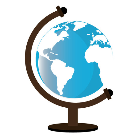 world class: Earth world map isolated icon on white backgroud, vector illustration.