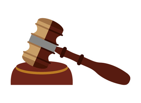 verdicts: wooden gavel isolated icon design, vector illustration  graphic Illustration