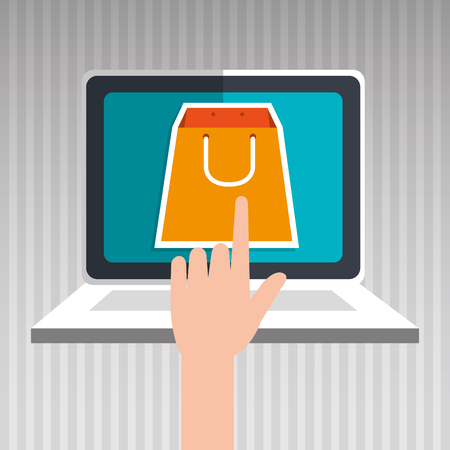 laptop isolated: user ecommerce laptop isolated icon design, vector illustration  graphic