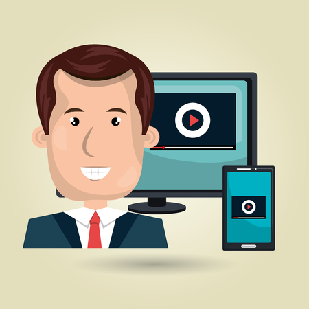 users video: User online TV isolated icon design, vector illustration  graphic