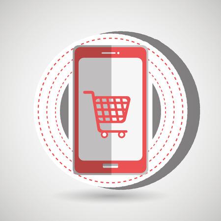 e market: e-commerce from smartphone isolated icon design, vector illustration  graphic