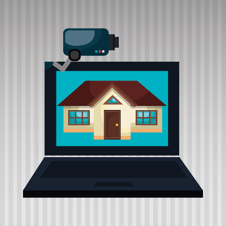 laptop home: smart home with laptop computer  isolated icon design, vector illustration  graphic