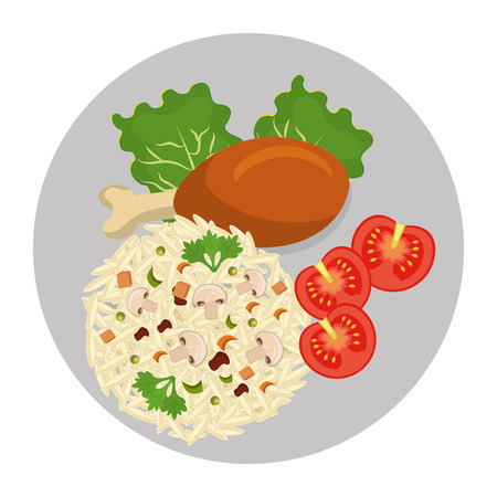 food plate: Delicious plate with diferents ingredients on it, vector illustration.