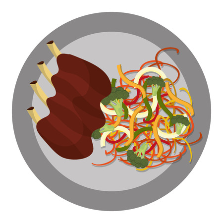pork ribs: Delicious plate with diferents ingredients on it, vector illustration.