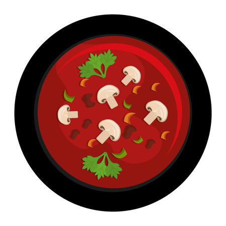 species plate: Delicious plate with diferents ingredients on it, vector illustration.