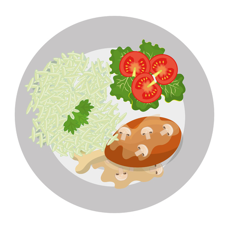 food dish: Delicious plate with diferents ingredients on it, vector illustration.