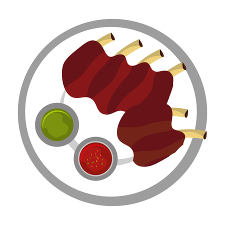 pork rib: Delicious plate with diferents ingredients on it, vector illustration.