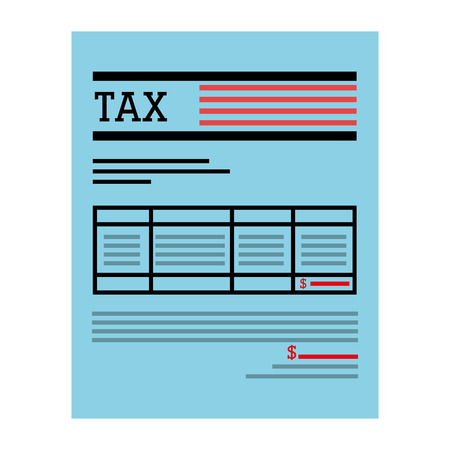 counting money: Taxes receipy payment isolated flat icon, vector illustration.