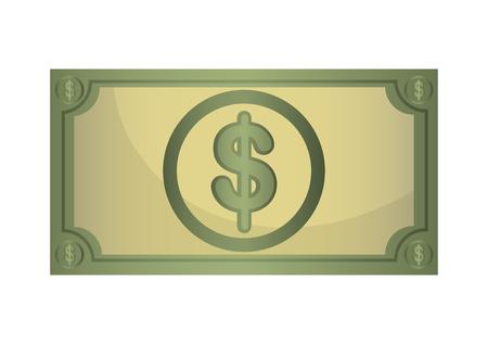 billet: Money billet  isolated flat design, vector illustration concept. Illustration