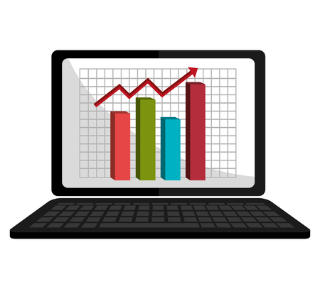 spreadsheets: Digital spreadsheets on electronic device, isolated flat icon vector illustration.