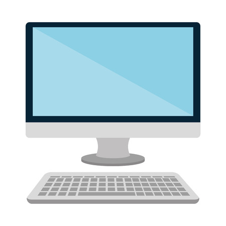 Personal computer with keyboard, isolated flat icon vector illustration. Illustration