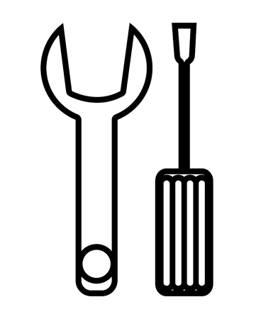 constrution: Wrench and scredriver constrution tools icon, vector illustration graphic. Illustration