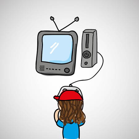 gamer: gamer playing in tv icon vector illustration