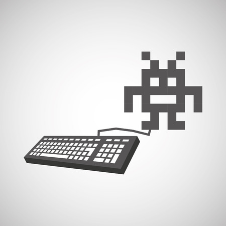 gamer: pixel with keyboard gamer icon vector illustration