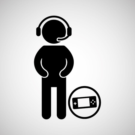 face with headset: gamer playing in joystick icon vector illustration