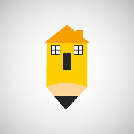 house construction: industry construction pen with house form vector