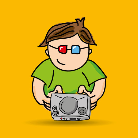 gamer: gamer playing in joystick icon vector illustration