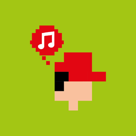 gamer: pixel music gamer play icon vector illustration