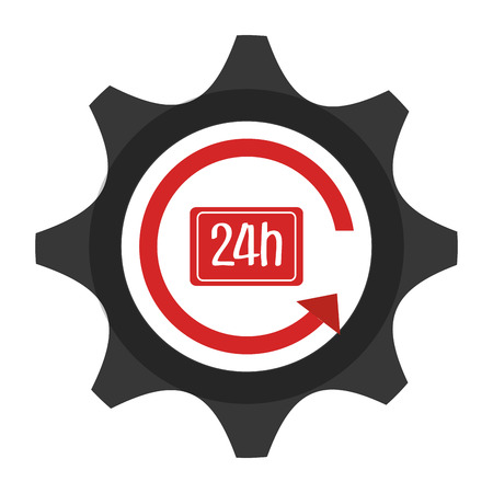 gear shape: Clock with gear shape, isolated flat icon vector illustration.