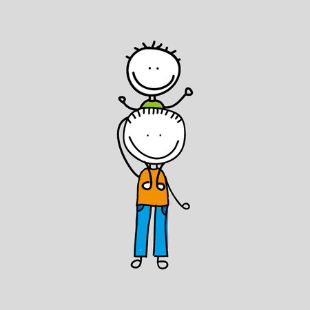 father and child: lovely family icon with two sons vector illustration over white background,