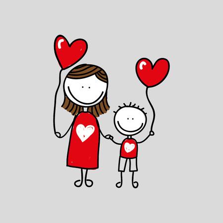 mooie familie icoon met hart, vector illustratie over witte achtergrond,