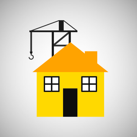 house construction: industry construction house development icon vector illustration