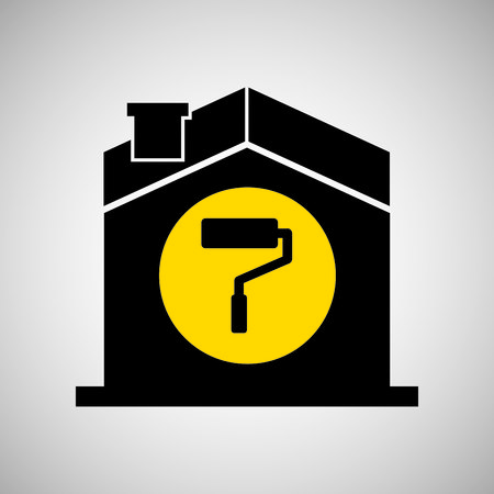 house construction: industry construction house with icon, vector illustration