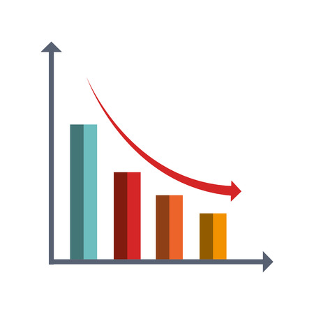 Financial decrease statistics isolated icon graphic design, vector illustration. Çizim
