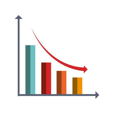 Financial decrease statistics isolated icon graphic design, vector illustration. Illustration
