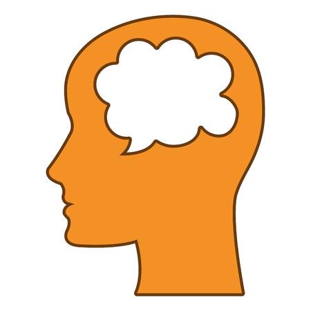 mente humana: La mente humana pensamiento icono, ejemplo gráfico del vector aislado.