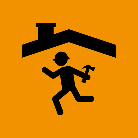 house construction: industry construction house, man working on it icon vector illustration