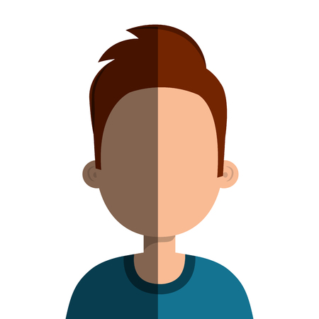 young male: Young male profille cartoon, isolated icon vector illustration graphic.