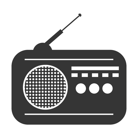 retro radio: Retro radio isolated flat icon, vector illustration graphic design.