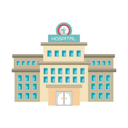 hospital icon: Medical hospital building  icon isolated flat design, vector illustration graphic. Illustration