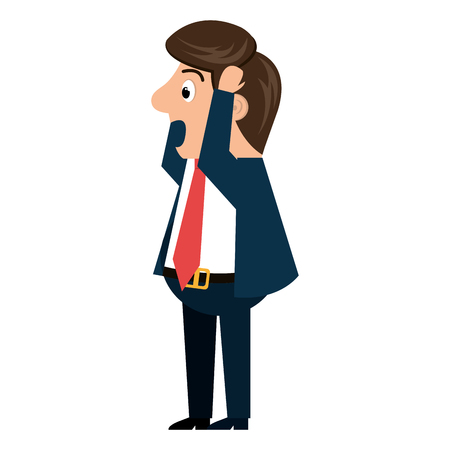 worried executive: Worried businessman isolated cartoon, vector illustration graphic design.