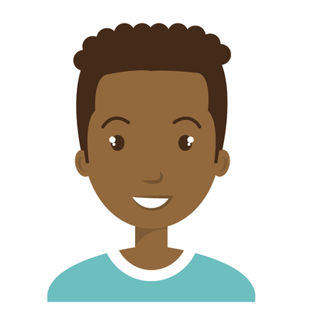 hapiness: Young male profille cartoon, isolated icon vector illustration graphic.