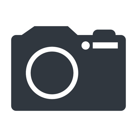 ico: Photographic camera isolated flat ico, vector illustration graphic.