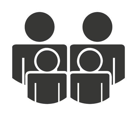 silhouette familiale isolé dessin icône, illustration vectorielle graphique