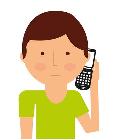 persona llamando: persona que llama aislado icono del diseño, ejemplo gráfico del vector Vectores