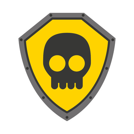 defending: security shield with skull isolated icon design, vector illustration  graphic