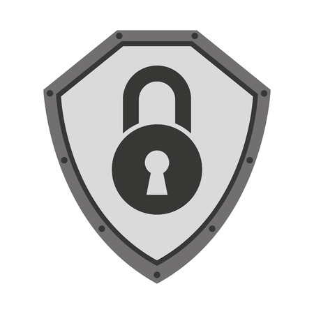 defenders: security shield with padlock  isolated icon design, vector illustration  graphic