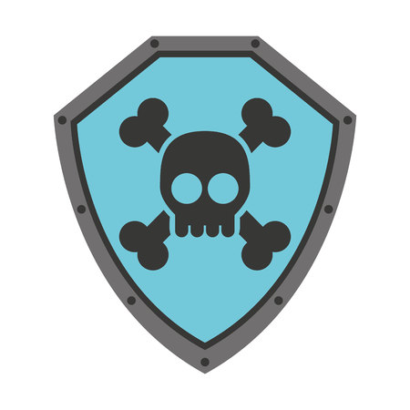 defending: security shield with skull  isolated icon design, vector illustration  graphic Illustration