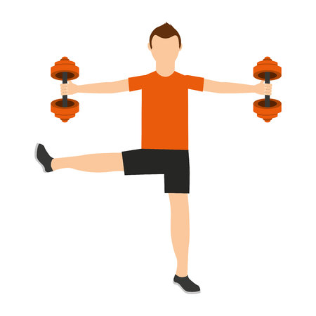 man lifting weights: man lifting weights isolated icon design, vector illustration  graphic