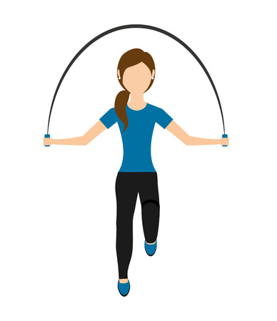 woman jump: woman jump rope isolated icon design, vector illustration  graphic