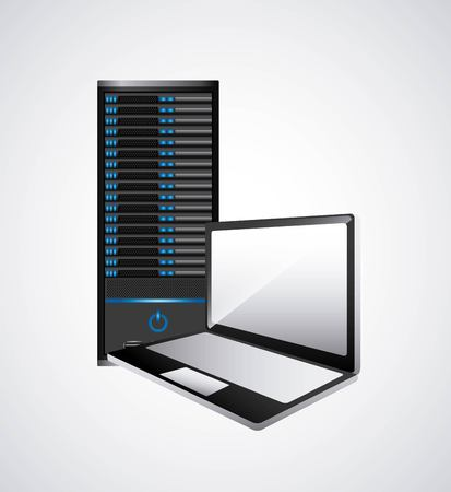 data base: Technology and data base design represented by web hosting and laptop icon. Colorfull and isolated illustration.