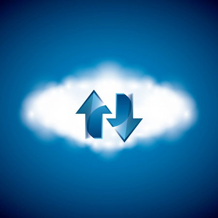 Technology and data base design represented by arrows over cloud computing  icon. Colorfull illustration. Blue background Illustration