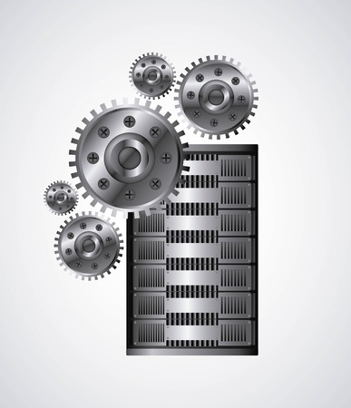 value system: Technology and data base design represented by web hosting with gears icon. Colorfull and isolated illustration.