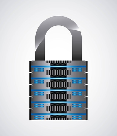 data base: Technology and data base design represented by web hosting and padlock icon. Colorfull and isolated illustration. Illustration