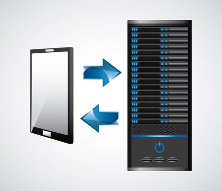 data base: Technology and data base design represented by web hosting and smartphone icon. Colorfull and isolated illustration. Illustration