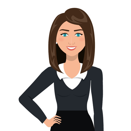 Young business woman with elegant suit cartoon, vector illustration graphic.